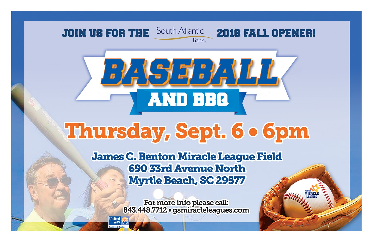 Join us for the 2018 Fall Opener. Baseball and BBQ Thursday Sept 6
